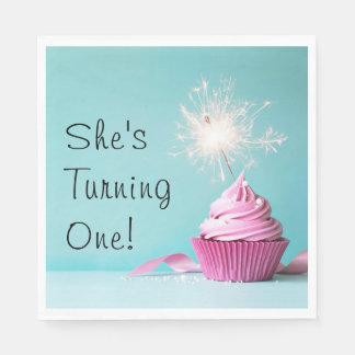 She's Turning One! Napkins - Pink Cupcake Theme Disposable Napkin