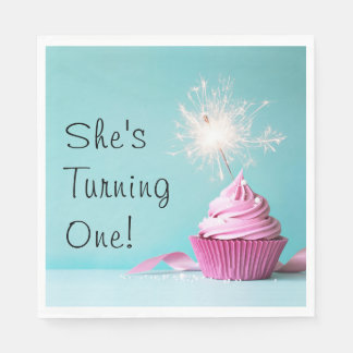 She's Turning One! Napkins - Pink Cupcake Theme Paper Serviettes