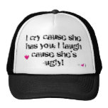 shes ugly, hot-pink-heart-graphic-02, I cry cau... Mesh Hat