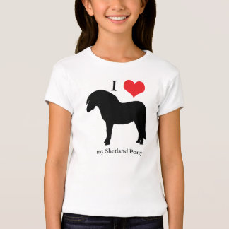 Shetland Pony I love heart kids, girls t-shirt