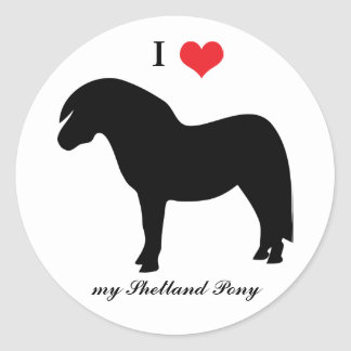 Shetland pony, I love heart, sticker, stickers