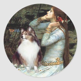 Shetland Sheepdog 18 - Ophelia Seated Round Sticker