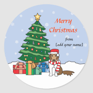 Shetland Sheepdog and Christmas Tree Round Sticker