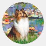 Shetland Sheepdog (Bz) - Lilies 2 Round Sticker