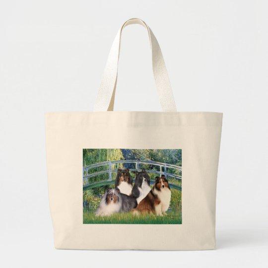 Shetland Sheepdog (four) - Bridge Large Tote Bag