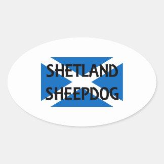 shetland sheepdog name on Scotland flag png Oval Stickers