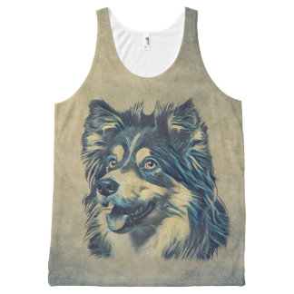 Shetland Sheepdog Painting All-Over Printed Tank
