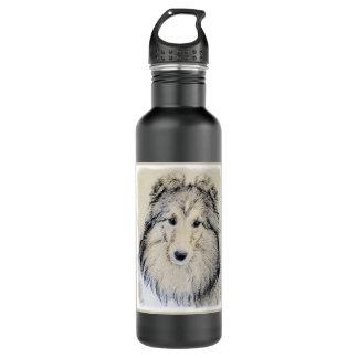 Shetland Sheepdog Painting - Cute Original Dog Art 710 Ml Water Bottle
