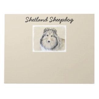 Shetland Sheepdog Painting - Cute Original Dog Art Notepad