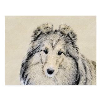 Shetland Sheepdog Painting - Cute Original Dog Art Postcard