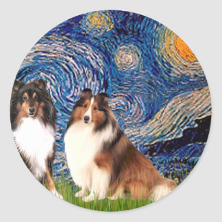 Shetland Sheepdog Pair - Starry Night Classic Round Sticker