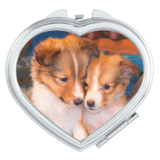 Shetland Sheepdog puppies sitting by wooden wagon Makeup Mirror