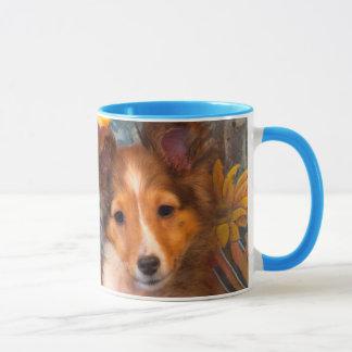 Shetland Sheepdog puppy in a hat box Mug