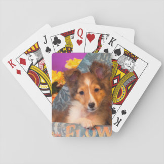 Shetland Sheepdog puppy in a hat box Playing Cards