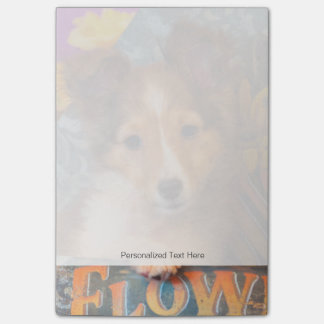 Shetland Sheepdog puppy in a hat box Post-it Notes