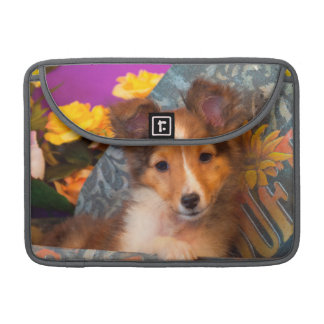 Shetland Sheepdog puppy in a hat box Sleeve For MacBooks