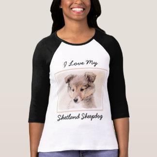 Shetland Sheepdog Puppy Painting Original Dog Art T-Shirt
