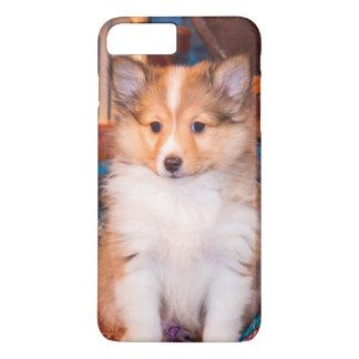 Shetland Sheepdog puppy sitting by small wagon iPhone 8 Plus/7 Plus Case