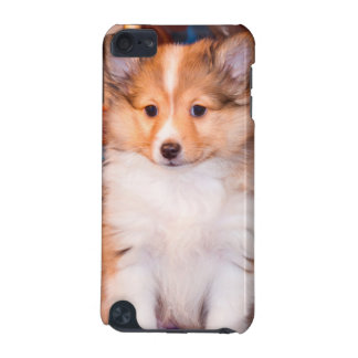 Shetland Sheepdog puppy sitting by small wagon iPod Touch 5G Covers