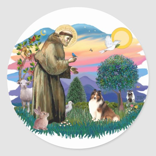 Shetland Sheepdog (sable and white) Classic Round Sticker