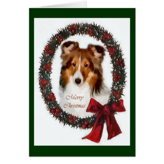 Shetland Sheepdog Sheltie Christmas Gifts Card