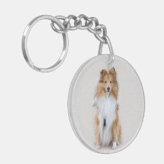 Shetland Sheepdog, sheltie cute dog photo portrait Double-Sided Round Acrylic Key Ring