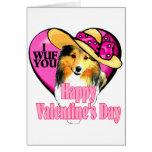 Shetland Sheepdog Sheltie Valentines Day Greeting Card