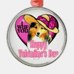 Shetland Sheepdog Sheltie Valentines Day Christmas Ornaments