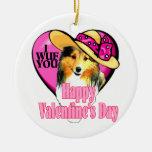 Shetland Sheepdog Sheltie Valentines Day Christmas Ornament
