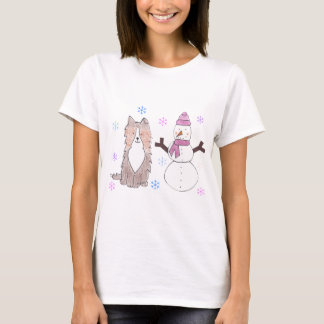 Shetland Sheepdog & Snowman T-Shirt