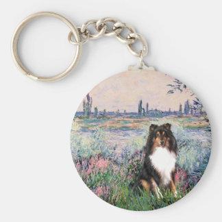 Shetland Sheepdog (Tri) - By the Seine Basic Round Button Key Ring