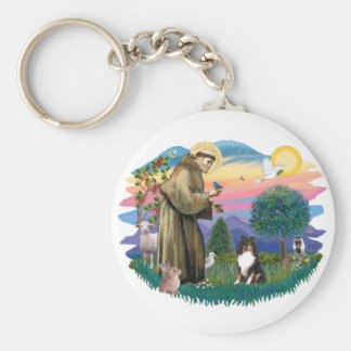 Shetland Sheepdog (tri color) Basic Round Button Key Ring