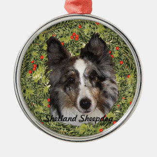 Shetland Sheepdog Wreath Christmas Ornament