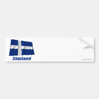 Shetland Waving Flag with Name Bumper Sticker