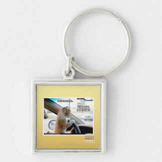 Shh! Be very quiet Silver-Colored Square Key Ring
