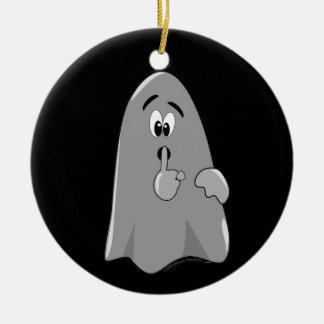 Shh Cartoon Ghost Cute Secret  Halloween Round Ceramic Decoration