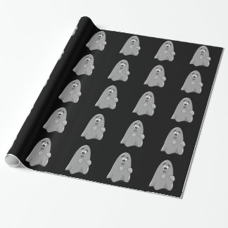 Shh Cute Cartoon Ghost Surprise Halloween Party Wrapping Paper