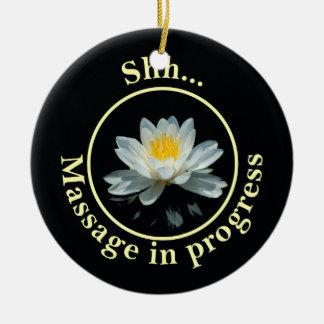 Shh... Massage in progress Door Sign Round Ceramic Decoration