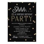 Shh Surprise Birthday Party Faux Glitter Confetti 13 Cm X 18 Cm Invitation Card