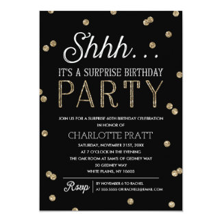 Shh Surprise Birthday Party Faux Glitter Confetti 13 Cm X 18 Cm Invitation Card