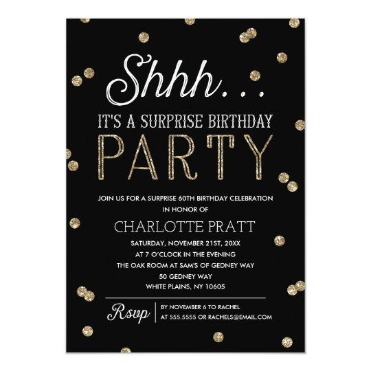 Shh surprise birthday party faux glitter confetti invitation shh surprise birthday party faux glitter confetti invitation stopboris Image collections