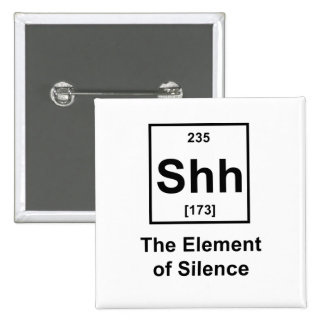 Shh, The Element of Silence 15 Cm Square Badge