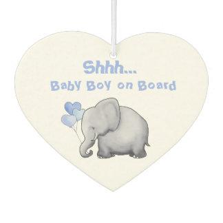 """Shhh Baby on Board"" Cute Heart Balloon Elephant Car Air Freshener"