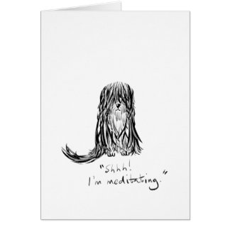 Shhh! I'm Meditating Dog Cartoon Greeting Card