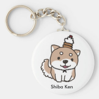 shiba dog basic round button key ring