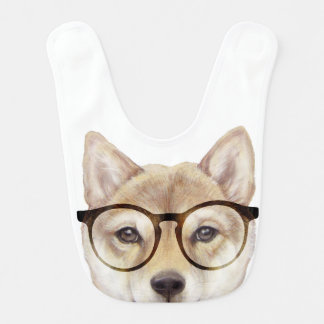 Shiba int with glasses baby bibs