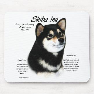 Shiba Inu (blk/tan) History Design Mousepads