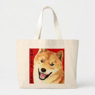 Shiba Inu Color Block Large Tote Bag