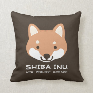 Shiba Inu Cute Face with Text Throw Pillow