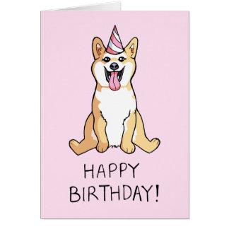Shiba Inu Dog Drawing Happy Birthday Card